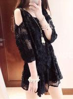 2014 new Korean three-dimensional floral  Sleeve  cute white  full lace women summer dress girl  causal dresses