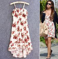 2014 Big Size summer vacation beach floral print  bandage dresses  women Free shipping girl print dress brand