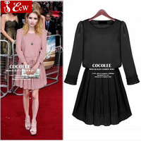 2014 new spring women chiffon dress fashion slim pleated dress European style Knee-Length evening dress women clothing