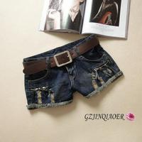 new 2014 spring and summer denim shorts female Dark Blue single-shorts zipper fashion flash hole decoration jeans pant