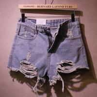 new 2014 vintage high waist hole flash wide leg denim shorts female boot cut jeans plus size jeans knickers women's pants