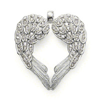 Feather Heart Pendant with White Zirconia Classic pendant necklace gothic jewelry 2014 silver pendant free shipping