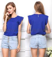 Women butterfly chiffon blouse shirt lady fashion S-XL ruffles short-sleeve blouse top shirt Plus loose size  W5157