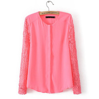 2014 Spring Summer Style Women's Long Sleeve Chiffon Shirt, Lace Sleeve and Chiffon Body, Most fashion blouse in 2014