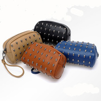2014 fashion Rivet skull shoulder bag day clutch mobile phone bag mini bags women's handbag