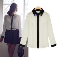 2014 Spring Summer EU White Hit Color Chiffon Women Blouses Flowers Tops Elegant Shirts Ladies blouses & Shirts Women's clothing