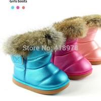 Real rubbit fur children's snow boots EU21-24 kids girls warm plush waterproof velcro winter shoes soft rubber outsole 614081-7