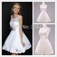 Free shipping H9033 New Arrival  High neckline High quality Beads  Short Wedding Dress Custom-made