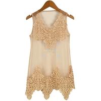Elegant Women's Lace Crochet Net Yarn Splicing Sundress Stylish Ladies Sleeveless Vest Dress 3Colors 16829