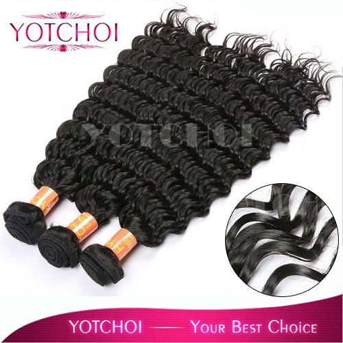 Yotchoi Human Hair Distributor brazilian hair deep wave length 3pcs/lot Grade 5A unprocessed virgin brazilian hair extensions(China (Mainland))