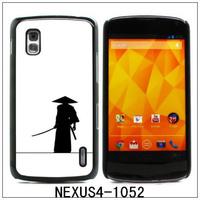 Aluminum Metal and Hard Plastic Back Case Cover for LG Nexus 4 E960-Samurai(1052),with 3pcs Screen Protector