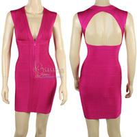70% Discount! New Deep V-neck Front Zipper Backless Elastic Knitted bandage dress Evening Dress Bandage Women Celebrity Dress