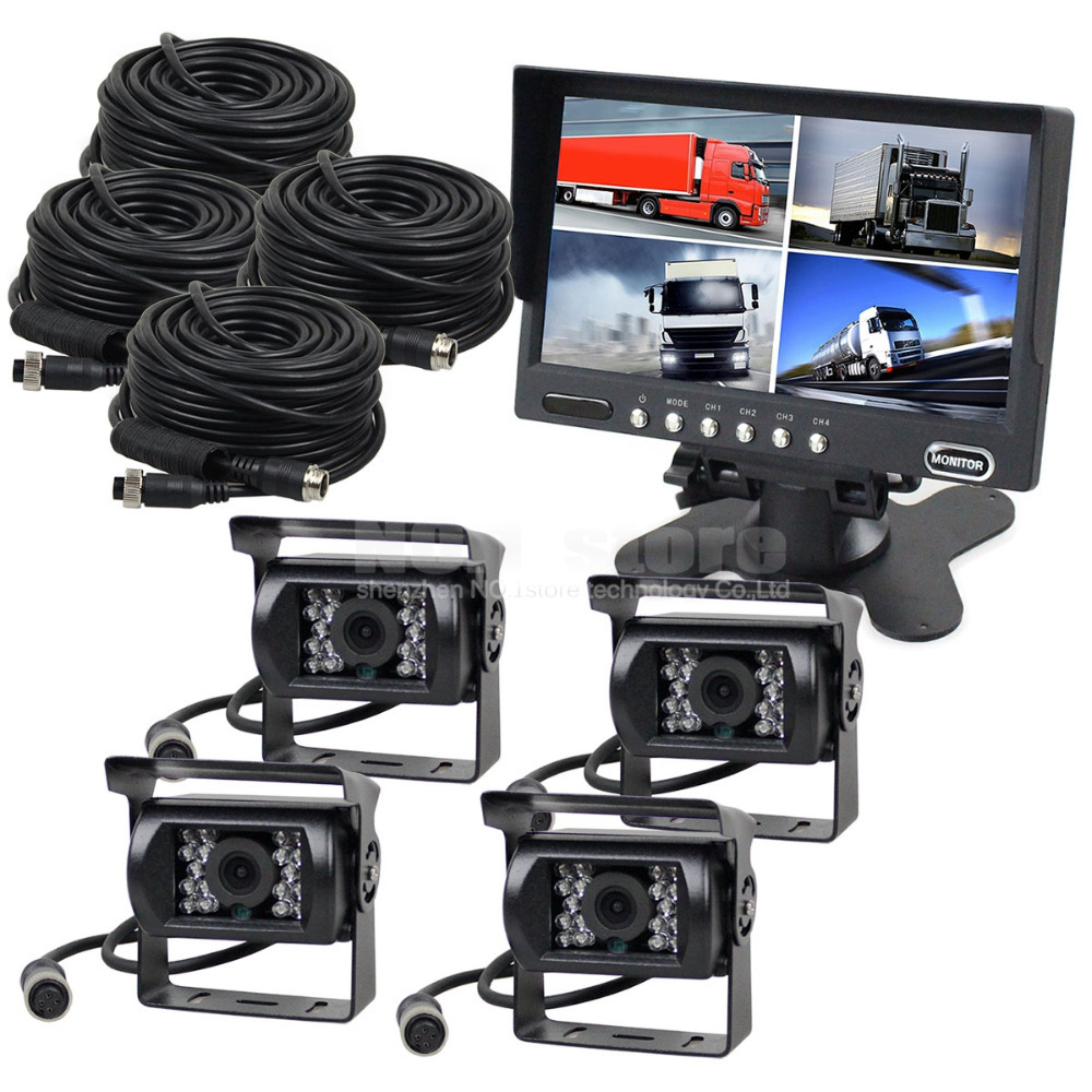 High Quality 4-PIN 7 Inch Split QUAD Car Monitor + 4 x CCD IR Night Vision Rear View Camera Waterproof For Truck Bus(China (Mainland))