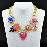 2014 Fashion Wholesale Shourouk Chain Chunky Choker Statement Necklaces & Pendants Fashion Fower Necklace Women