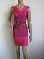 70% Discount!2014 New V-neck Gradient Pink Ombre Dress Elastic Knitted bandage dress Evening Dress Bandage Women Celebrity Dress