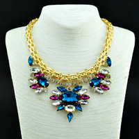 2014 Fashion Wholesale Shourouk Crystal  Chain Chunky Choker Statement Necklace & Pendant Fashion For Women