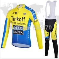 New Arrival! 2014 Tinkoff Saxo Bank Cycling Jersey Long sleeve and bicycle bib Pants / ropa ciclismo clothing MTB #522