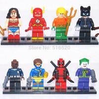 Super Hero Figures 8pcs/lot The Flash Catwoman Clown Classic Toys DIY Building Blocks Sets Bricks Minifigures Toy For Children