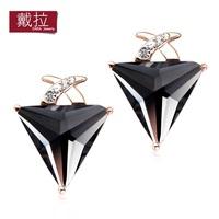 Stud earring female fashion big earrings geometry triangle red crystal anti-allergic elegant accessories Wholesale TE273