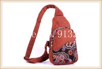 Wholesale Unisex Vintage Sling Chest Bag Back Pack Travel Bags Shoulder Handbag Brown Handicrafted Handbags Cotton Holiday Gift