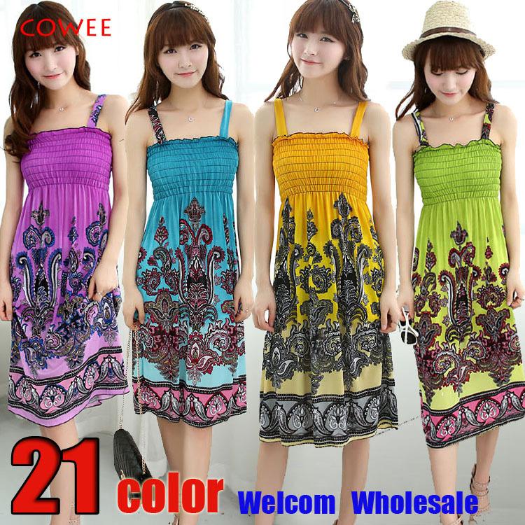 2014 NEW ARRIVALSexy Summer Beach Women Girl Fashion Casual Long Beach print Boho Dress Sundress Wholesale +free shipping(China (Mainland))