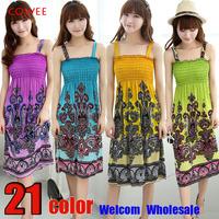 2014 NEW ARRIVALSexy Summer Beach Women Girl Fashion Casual Long Beach print Boho Dress Sundress Wholesale +free shipping