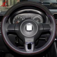 XuJi Black Red Genuine Leather Suede Steering Wheel Cover for Volkswagen Golf 6 Mk6 VW Polo Sagitar Bora Santana Jetta