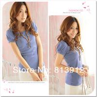 2014 spring all-match sweet t-shirt women's short-sleeve puff sleeve t-shirt candy color 732 basic shirt