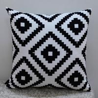 "18*18 "" Modern Black White Abstract Geometric Printed Throw Pillow Case for Sofa Bedding"