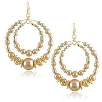 New Hand Made Big Hoop Imitation Pearl Earrings for Women