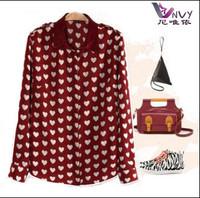 Spring 2014 new fashion women clothes vintage chiffon long sleeve heart print top free shipping shirt women blouses GW031