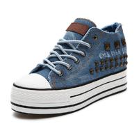 2014 spring low platform rivet denim canvas shoes female elevator women sneakers