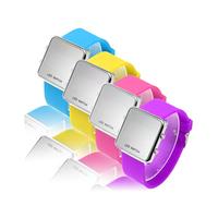 Fashion Unisex Quartz mirror wristwatch with red led light,sport & dress & gift watch for children,student,woman,man,girl,boy