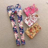 new 2014 flower print long jeans woman slim fit denim Pencil pants plus size summer spring jean trousers size 26-30
