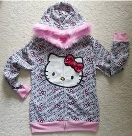 HOT SALE 2014 girls clothing girls HELLO KITTY cotton sweatshirt leisure jacket hooded jacket sportswear for spring SD334(China (Mainland))