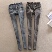new 2014 spring fashion vintage water wash thin slim high waist skinny jeans female denim pencil pants
