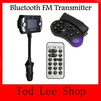HOT Sale 1.5 Inch LCD Screen FM Transmitter Modulator Bluetooth Car Kits+MP3/MP4 Player+Support SD/MMC+Steering Wheel Mount
