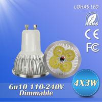10PCS/LOT 2014Hot sale LED spotlight dimmable 3w/9w/12w15W  led lamps gu10 led lighting 220v led bulb free shipping