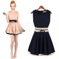 New women summer evening dress slim chiffon patchwork mini dress sleeveless plus size cheap cute sundress for women Pink Navy