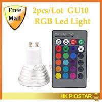 2Pcs/Lot E27 Led RGB Bulb 4w 16 color 110v 220v Led Spotlight Lamp With IR Remote controller Free shipping
