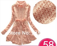 Free shipping spring 2014  chiffon one-piece dress slim long-sleeve lace spring and autumn basic dress