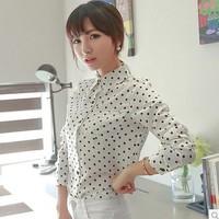 2014 spring chiffon shirt white shirt long-sleeve casual shirt female basic shirt spring  desigual free shipping