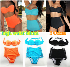 new 2014 bikini swimwear bikinis set swimsuit women neoprene vintage push up triangl high waist bandage sexy xl free shipping(China (Mainland))