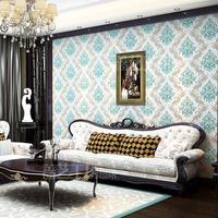 Vintage DAMASK Flower Wallpaper Foam 3D Luxury Living Room Bedroom Home Decoration Blue Floral Wall Paper papel de parede Roll