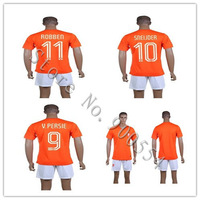 high quality 2014 New season Netherlands home orange Soccer   kits  Holland  Embroidery Logo  Soccer football Shirt with shorts