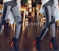 2014 Women's Faux Leather Leggins for women clothing jeggings skin cotton patchwork Leggings fitness Pants pencil Capris
