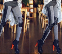 2014 Women's Faux Leather Leggins for women clothing jeggings skin cotton patchwork Leggings fitness Pants pencil Capris