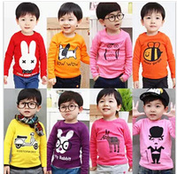 NEW 2014 summer children clothing girls boys child cartoon multicolor long sleeve T shirt  children top tee/Children's T-Shirts