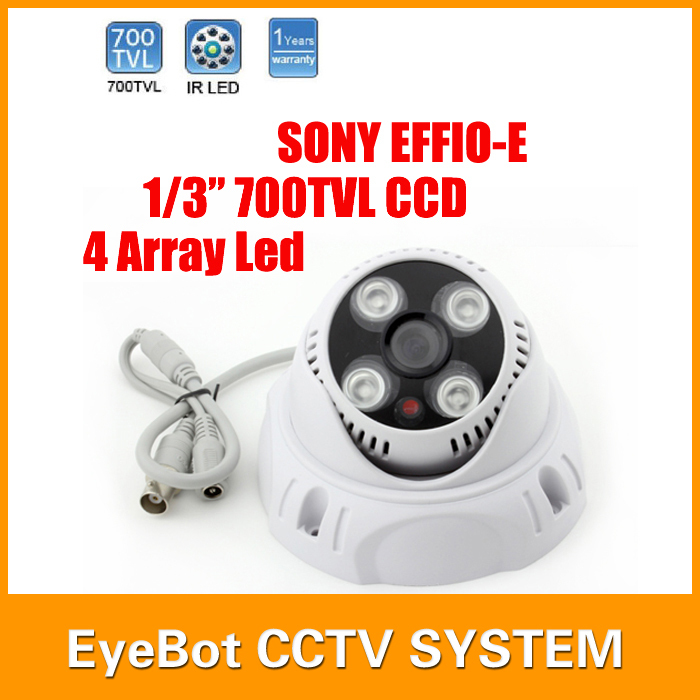 Hot Selling 3.6/6mm Optional Lens SONY EFFIO-E CCD Camera 700TVL Dome Camera In Door CCTV 4Pcs Led 30m IR Distance()