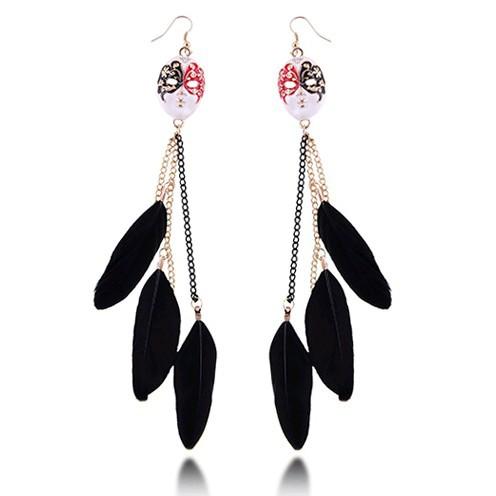 Top Quality 2015 New Fashion Vintage Baroque Feather Facial Masks Long Dangle Earrings For Women 66E1103 66E1104(China (Mainland))